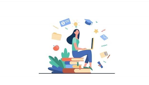 온라인 과정에서 공부하는 노트북과 학생