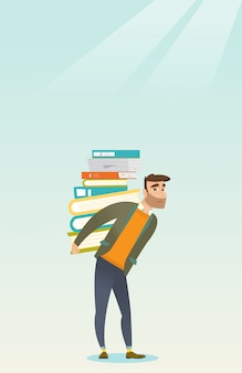 Student with pile of books vector illustration.