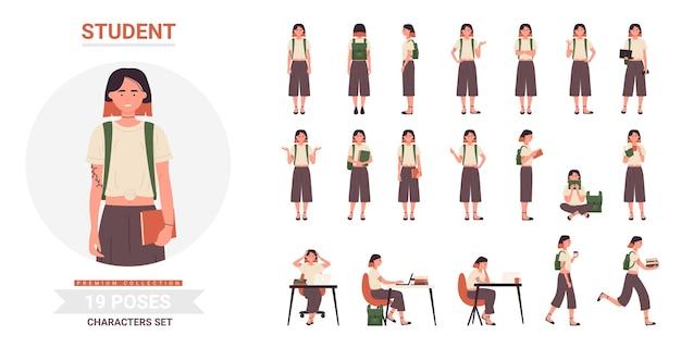 学生の女性のポーズセット、漫画の女性の十代のキャラクターが立っている、歩いている、または本を持って走っている