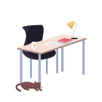 Студенческий рабочий стол мультфильм. стол со стулом, предметы домашней мебели плоские цвета. пустое домашнее рабочее место, изолированные на белом фоне. атрибут образа жизни колледжа