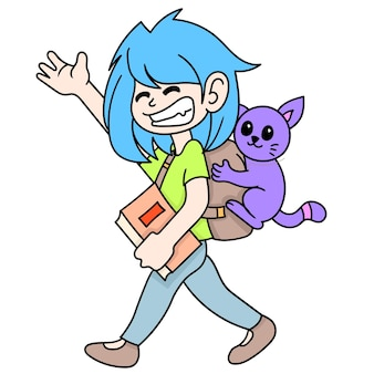 Student young woman carrying books to school with her pet cat, doodle draw kawaii. illustration art
