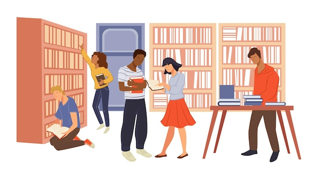 図書館の店で本を読んでいる学生と大人