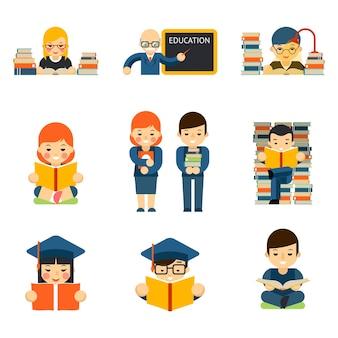 生徒と子供たちは読書を設定し、教室で勉強を学びます