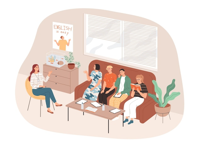 Студенты и учитель сидят в неформальной обстановке и изучают английский язык.