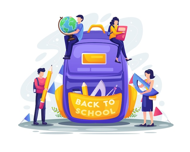 Students are preparing to back to school with giant school backpack with supplies illustration