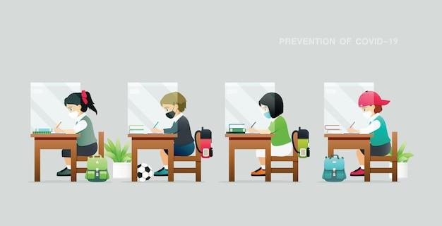 학생들은 예방 지침에 따라 엄격하게 공부하고 있습니다.