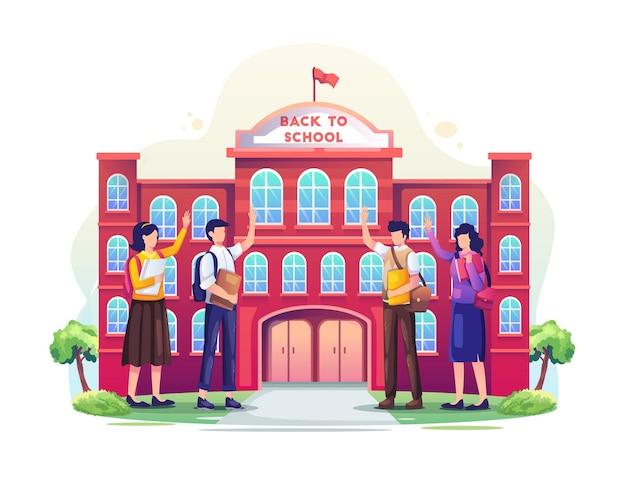 Студенты возвращаются в школу и приветствуют друг друга перед школьной векторной иллюстрацией