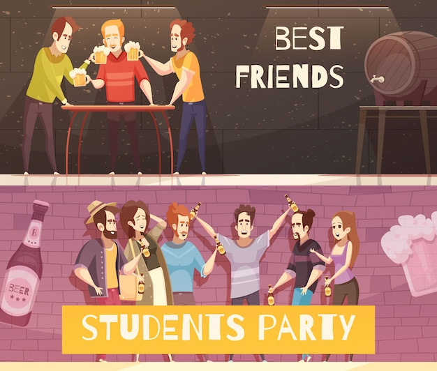 Students beer party horizontal banners