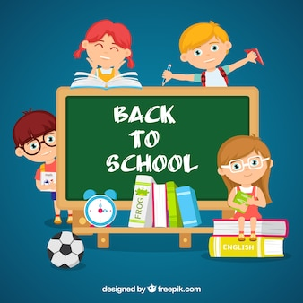 Students, blackboard and school materials