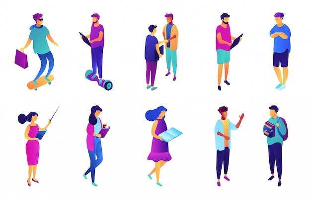 Students and business people isometric 3d illustration set.