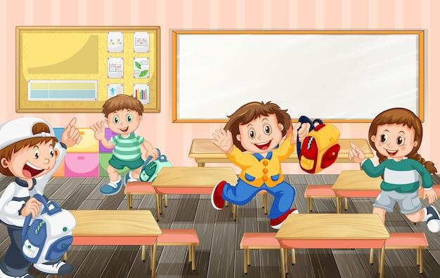Студенты мультипликационного персонажа готовы вернуться домой после школы