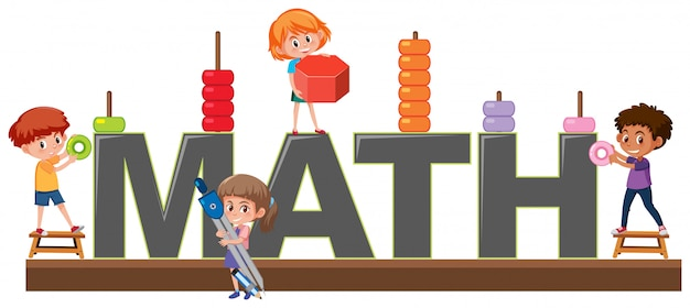 Students character on math logo
