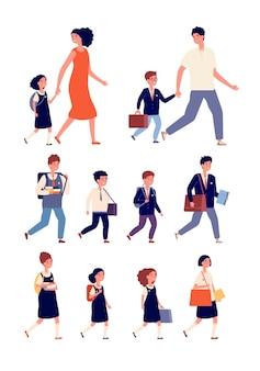 学生のキャラクター。小学生と高校生が混在するフラットな子供たち。バッグを持ったティーンエイジャー、大学のコミュニティ。キッズ学習ベクトルセット。学生服小学校、キャラクター制服ティーンエイジャーイラスト