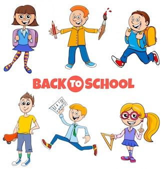 Students children back to school cartoon set
