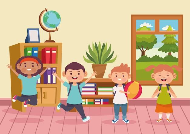 그림을 재생하는 학생 어린이