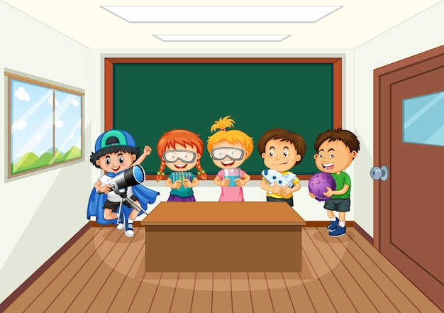 Students in the classroom background Premium Vector