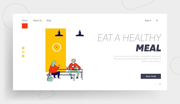 Students communicate in canteen landing page template
