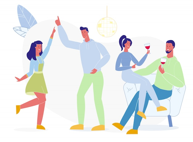 Students dancing, drinking vector illustration