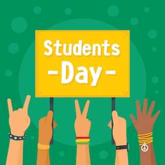 Students day concept background, flat style