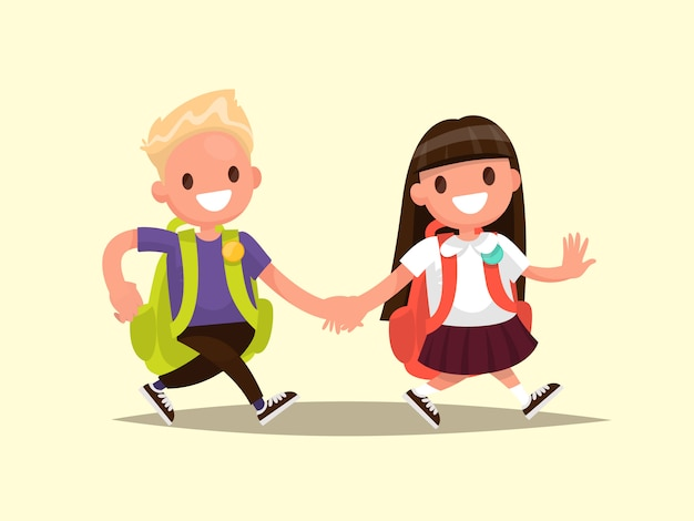 Students elementary school . schoolboy and schoolgirl go together hand in hand.