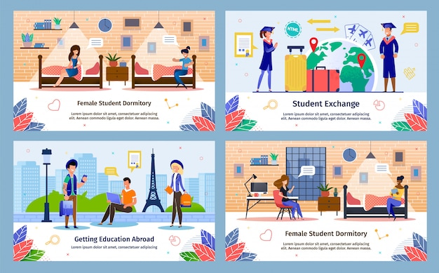 Students exchange program flat vector banners set