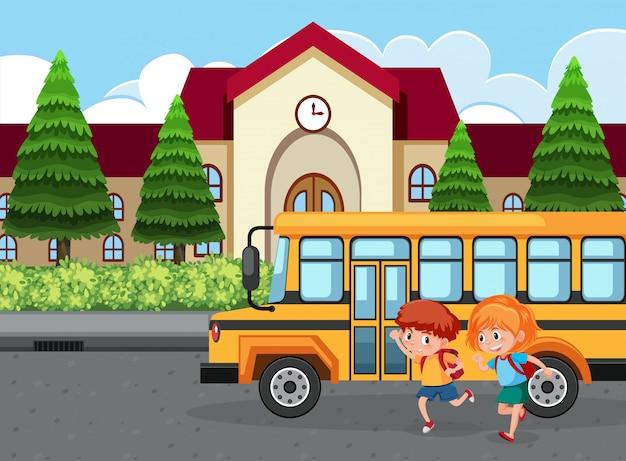 学生はバスで学校に行く