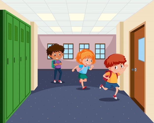 学生は教室に行く
