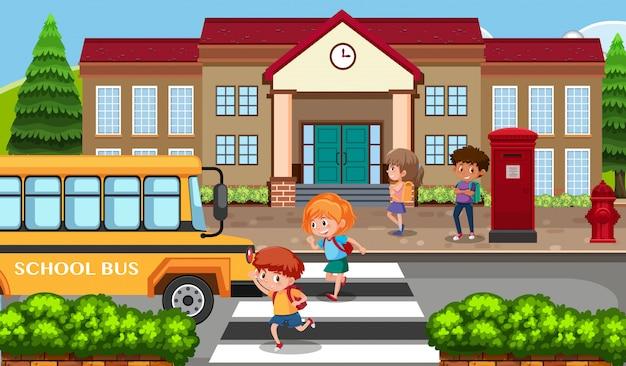 バスで学校に通っている学生
