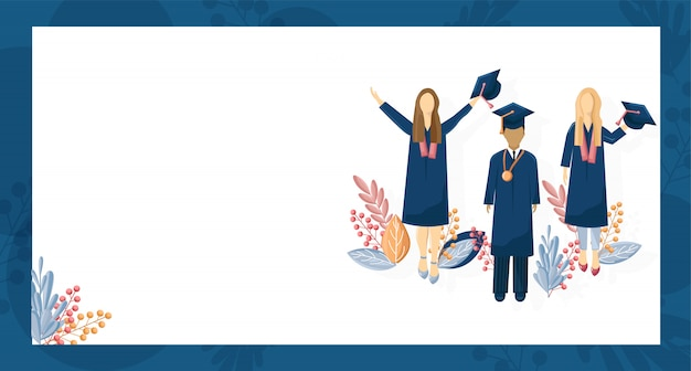 Students graduation flat style. symbols knowledge template