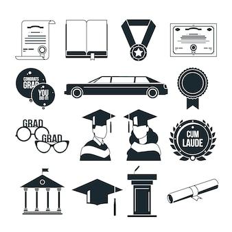 モノクロームスタイルの学生卒業パーティー。黒のアイコンが設定されています。大学または大学卒業生、証明書卒業イラスト