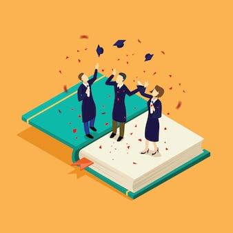 Students graduation successful isometric