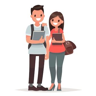 Студенты парень и девушка с книгами на белом фоне