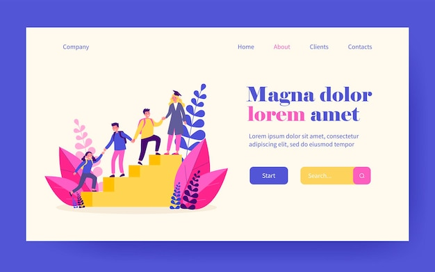 Students helping each other to climb upstairs. high school graduate, holding hands, team of friends flat vector illustration. education, teamwork concept for banner, website design or landing web page
