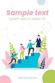 Students helping each other to climb upstairs illustration