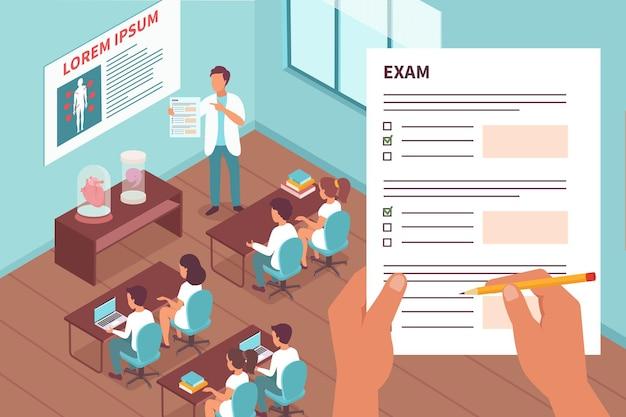 試験フォームに記入する方法を学生に説明する教師と一緒に試験イラストの学生