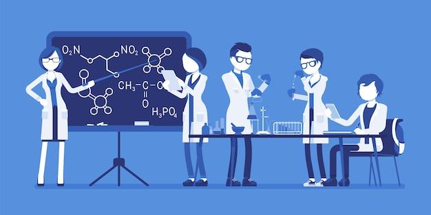 ラボの学生。大学で勉強している若者は、物理的または自然な実験室で化学の授業を受けています。科学と教育のコンセプトです。顔のないキャラクターのイラスト