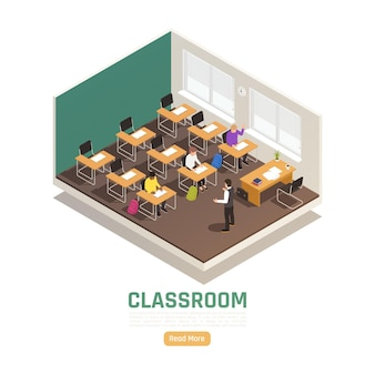 Students and lecturer in high school classroom isometric landing page