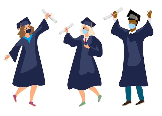 Students in medical mask. graduates in protective medical masks celebrate 2020 graduation during coronavirus pandemic. boys and girls having fun jump and toss up mortarboards and diplomas.