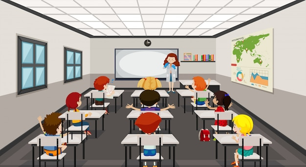 Students in modern classroom illustration
