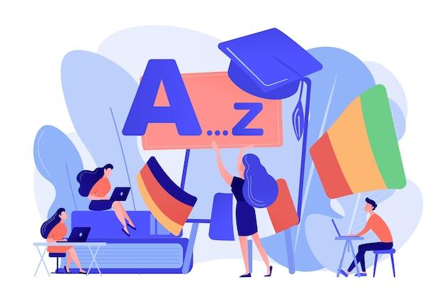 Studenti che praticano l'apprendimento dinamico delle lingue straniere in officina