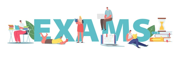 Students prepare for examination concept. characters reading books. young women and men scholars or bookworms spend time in library, studying poster banner or flyer. cartoon people vector illustration