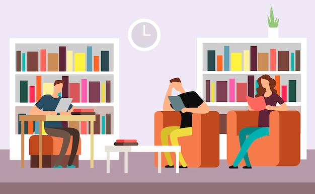 Students reading and searching books in public library interior with bookshelves cartoon vector illustration