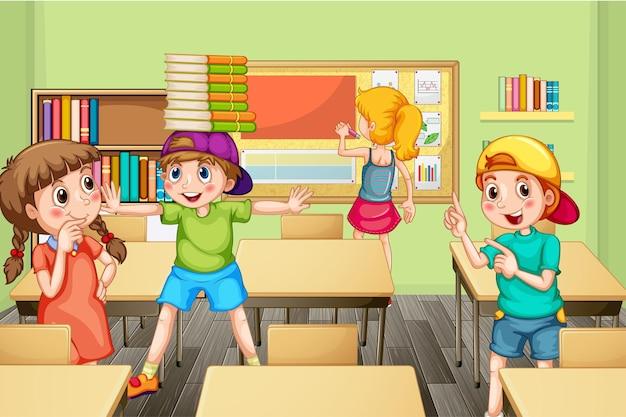 교실에서 쉬는 시간에 시간을 보내는 학생들