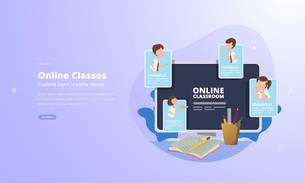 Студенты продолжают учиться с помощью видеоконференции для концепции иллюстрации онлайн-классов
