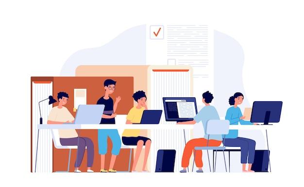 学生は机で勉強します。ラップトップコンピューター、チームワーク大学の学校で勉強している若い十代の若者たち。物思いにふける男は、試験ベクトルを準備します。イラスト学生の研究はインターネットを使用し、若者は学習します