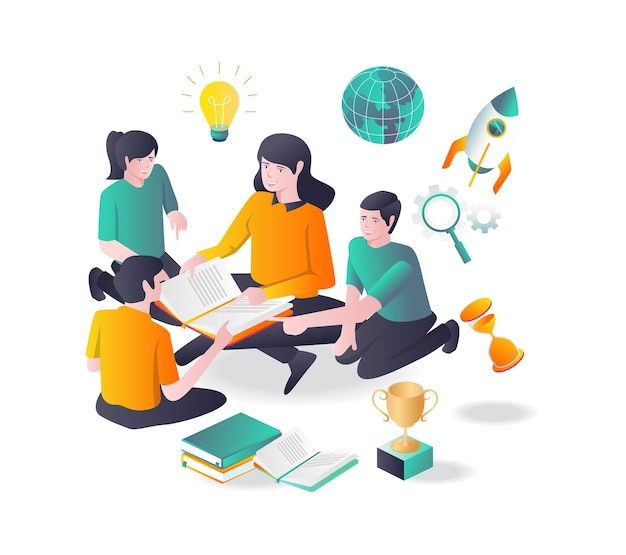 학생들은 평면 그림에서 여교사와 함께 공부합니다.