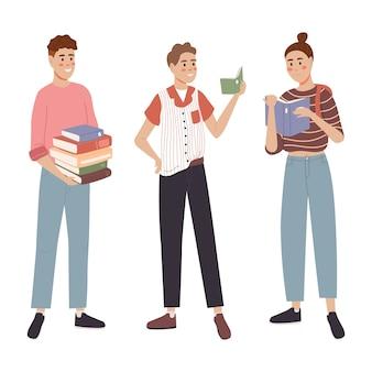 Студенты изучают и читают книгу
