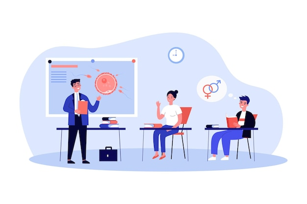 Students studying fertilization theme in class. flat vector illustration. teacher standing at blackboard and explaining biological process to young people. biology, education, reproduction concept