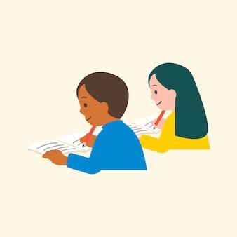 ベクトル文字フラットグラフィックを勉強している学生