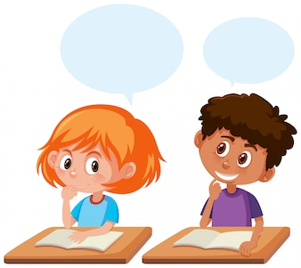 Students talking in the classroom